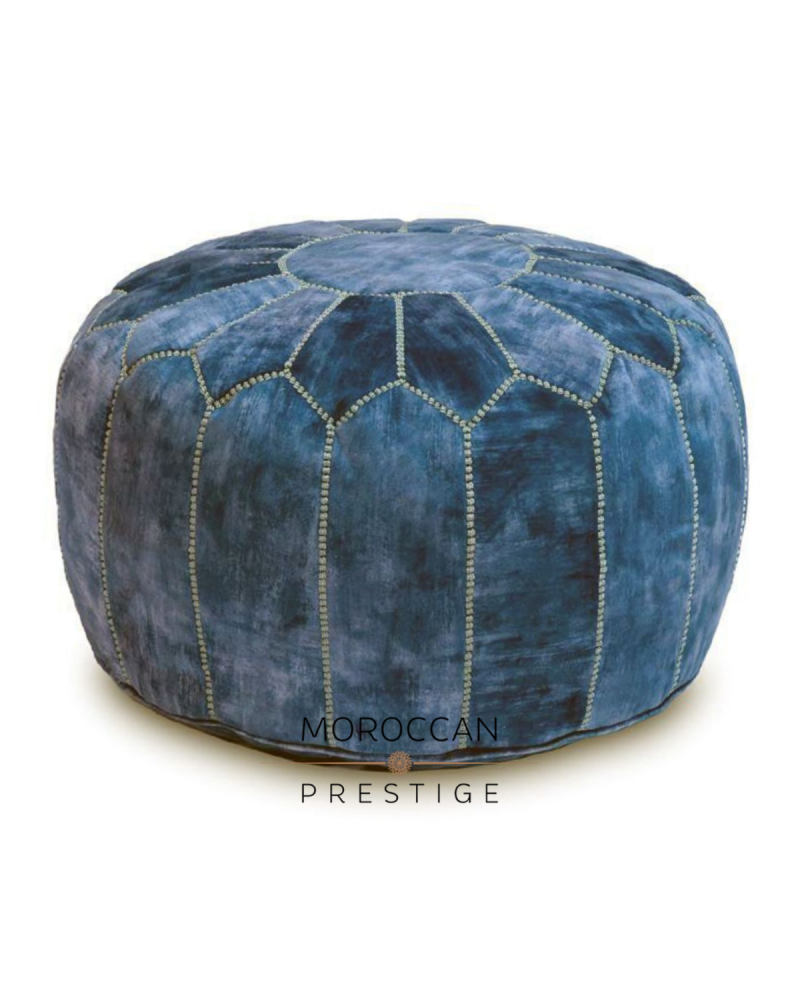 Moroccan Antique Blue Velvet Pouf