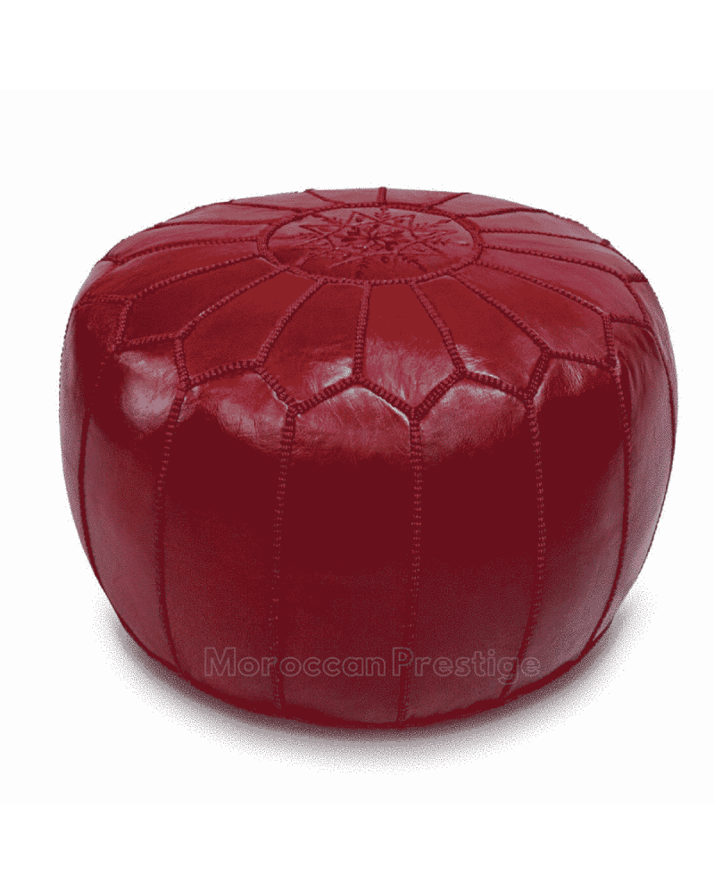 Burgundy Leather Pouf