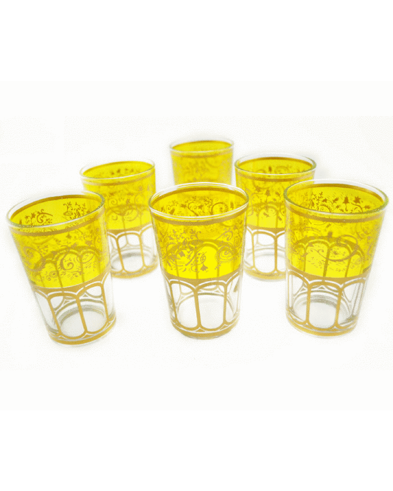 Moroccan Meknes Yellow Tea Glasses (Set Of 6)
