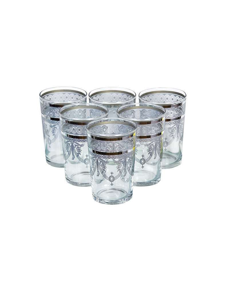 Morocan Berber Silver Tea Glasses (Set Of 6)