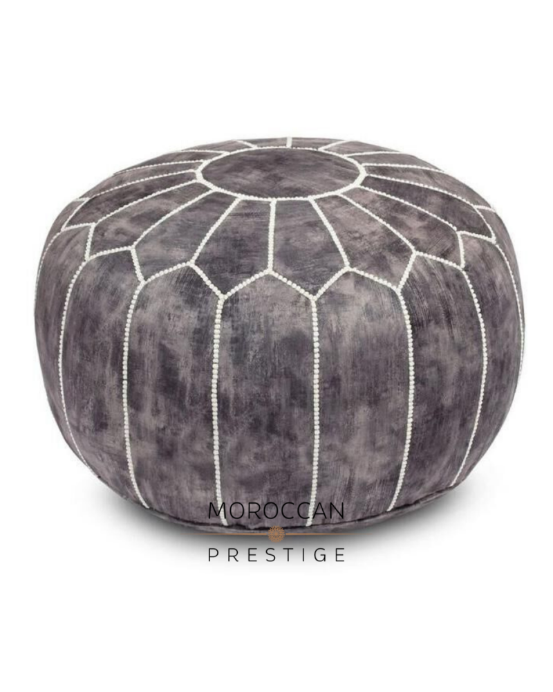 Moroccan Antique Velvet Pouf - Anthracite
