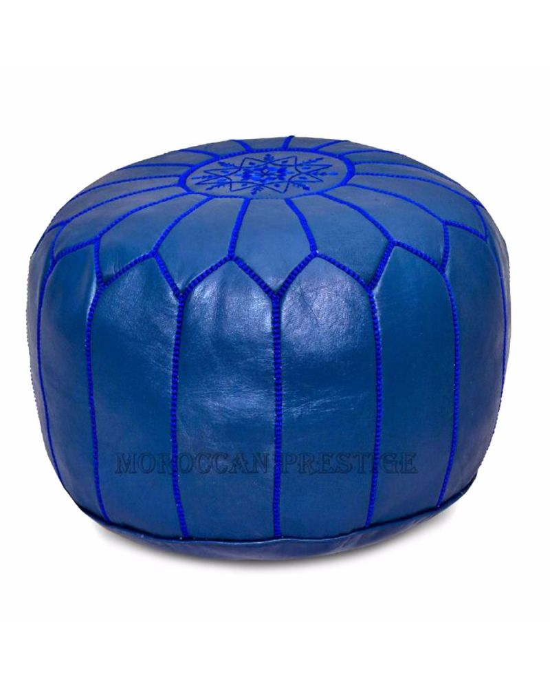 Navy Blue Moroccan Leather Pouf