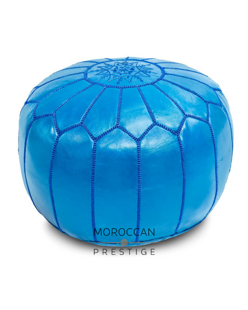 Moroccan Azul Leather Pouf