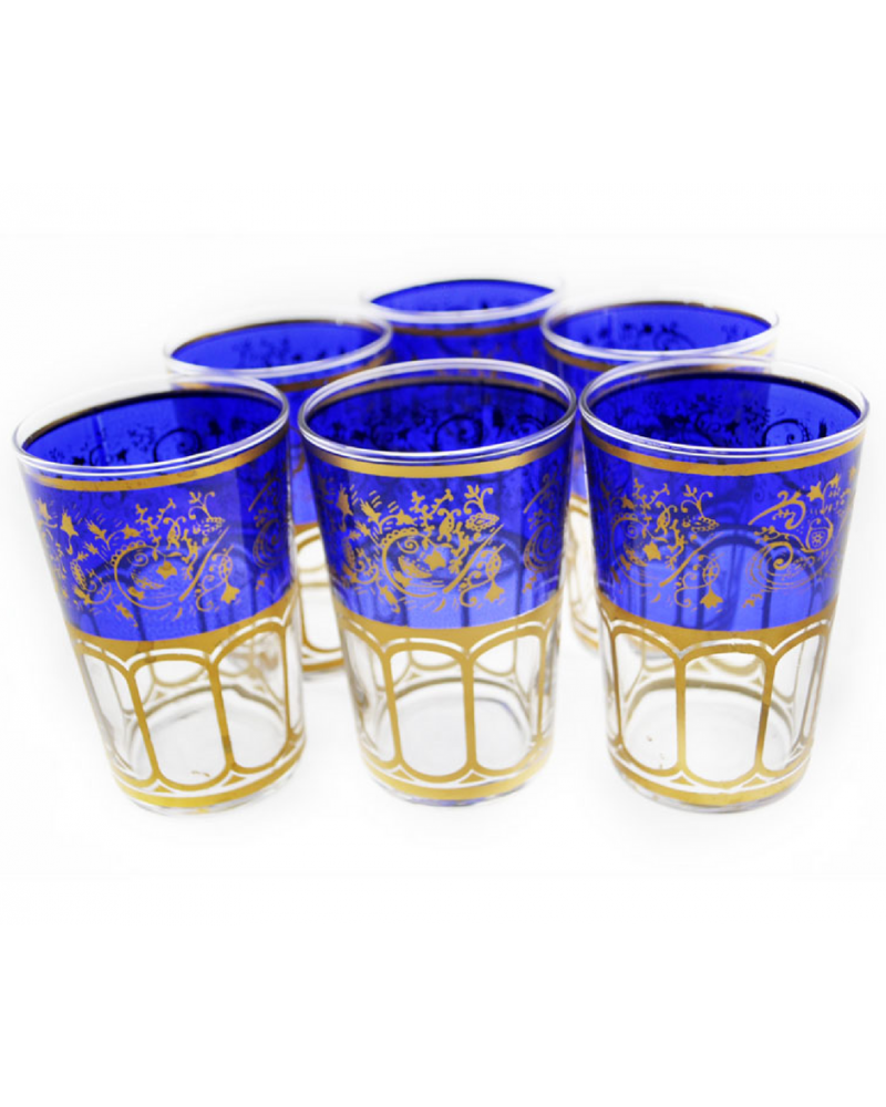 Moroccan Meknes Blue Tea Glasses (Set Of 6)