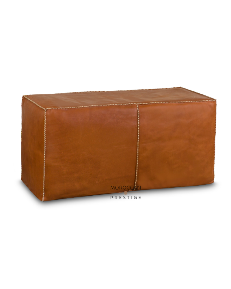 Leather Rectangular Pouf - Tan