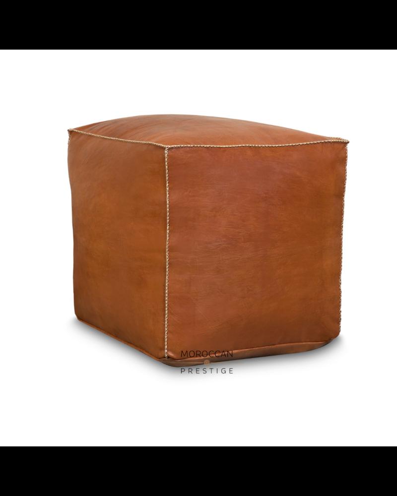 "Leather Moroccan Pouf - Cube Tan 19"""