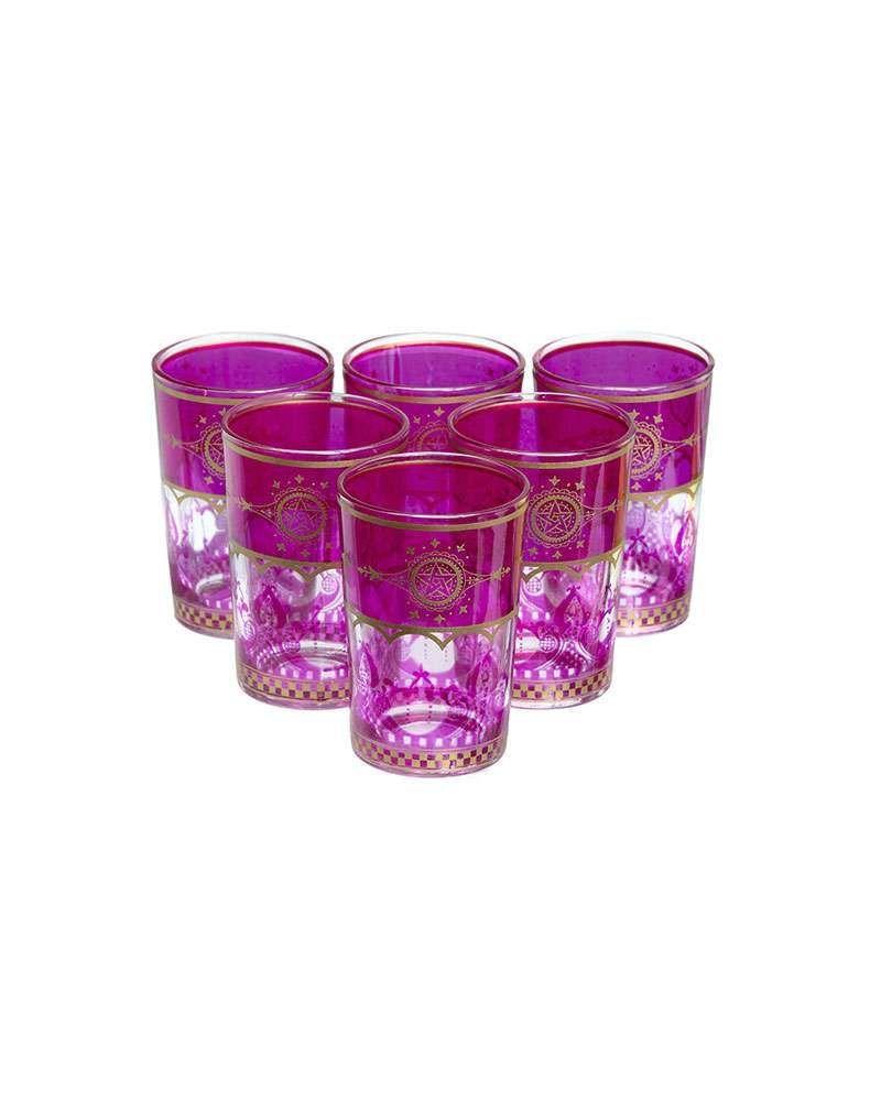 Moroccan Touareg Fuchsia Tea Glasses