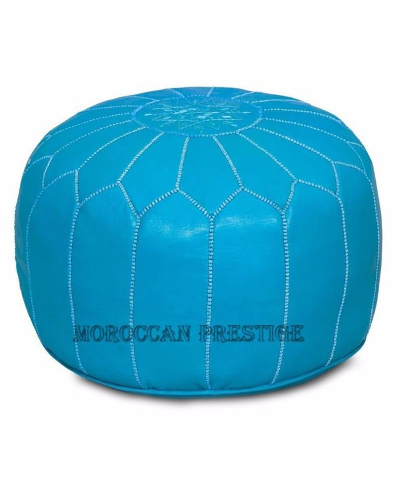 Dark Turquoise Moroccan Leather Pouf