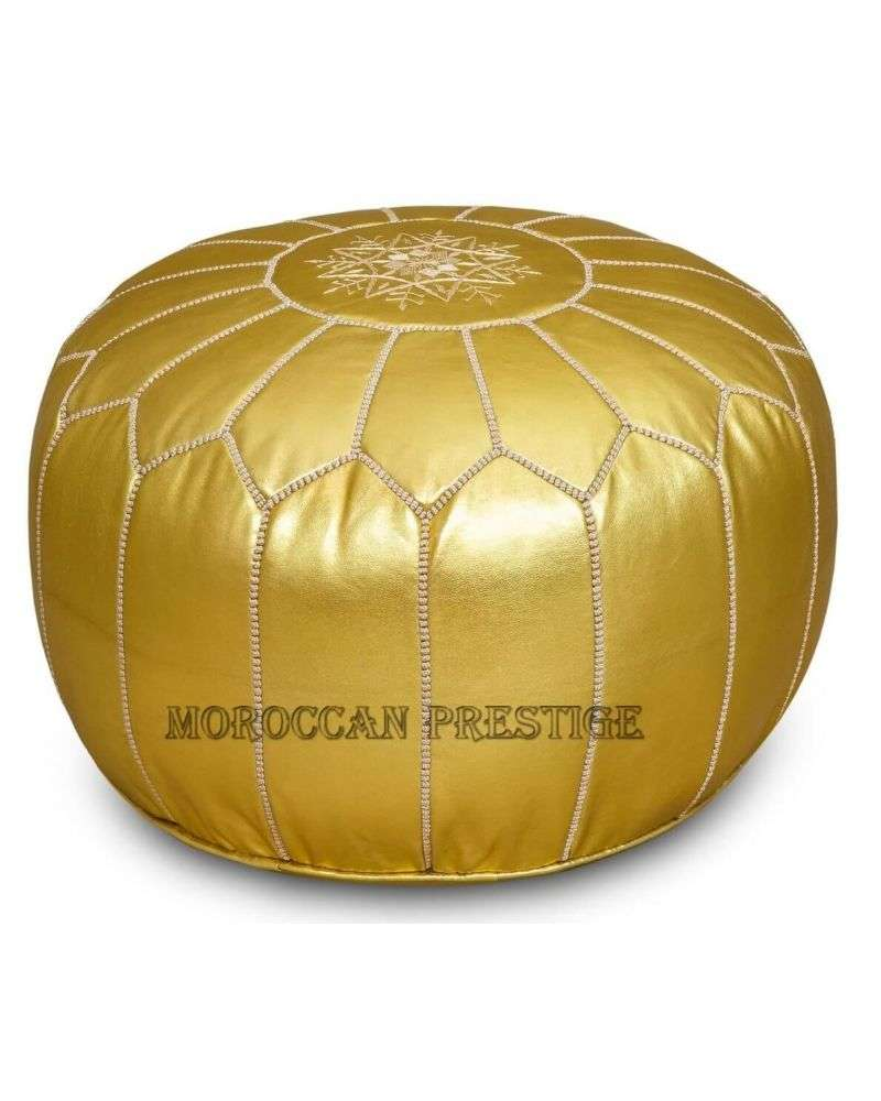 Gold Metallic Leather Pouf