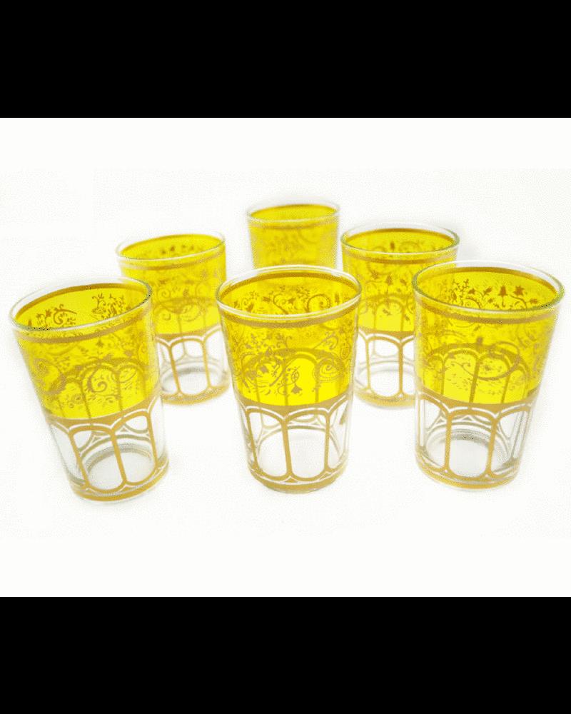 Moroccan Meknes Yellow Tea Glasses (Set Of 6)